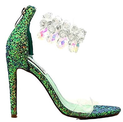 CherryMad Cape Robbin Suzzy-54  Green Clear Gemstone Ankle Strap Stiletto Heel