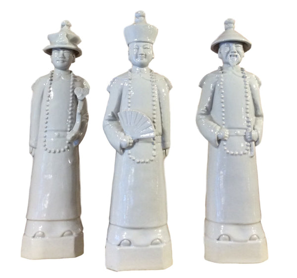 Set of Three Chinese White Porcelain Emperor Statues