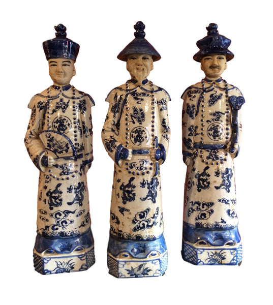 Set of Three Chinese Blue and White Porcelain Emperor Statues 15 inches Tall