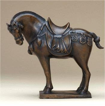 Large Bronze Tang Horse Statue 10 Inches Tall