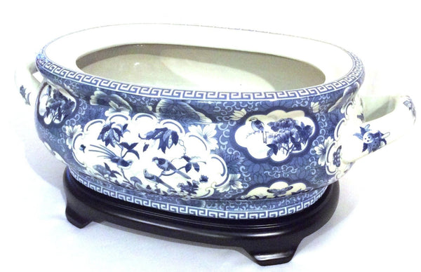 Blue and White Bird and Flower Porcelain Footbath with Base