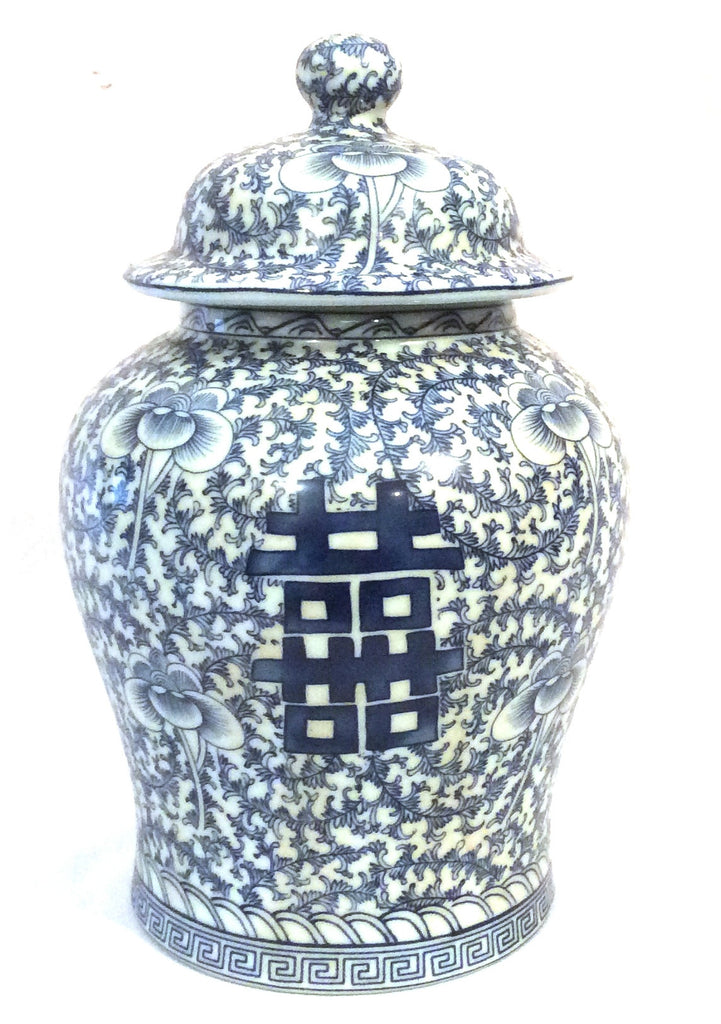 Chinese Blue and White Porcelain Temple Jar 14.5 Inches Tall Double Happiness Symbol