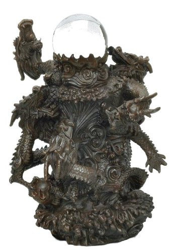Bronze Chinese Dragon Sculpture Holding a Glass Sphere 9 1/2 Inches Tall