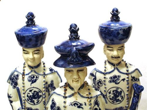Set of Three Chinese Blue and White Porcelain Emperor Statues