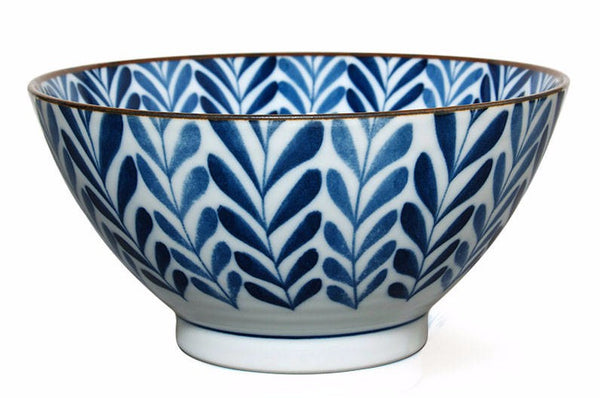 "7"" Japanese blue and white fern noodle bowl"