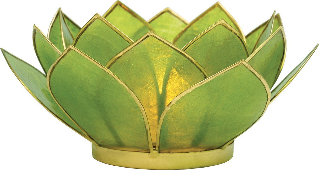 Green Capiz Shell Lotus Tealight Holder