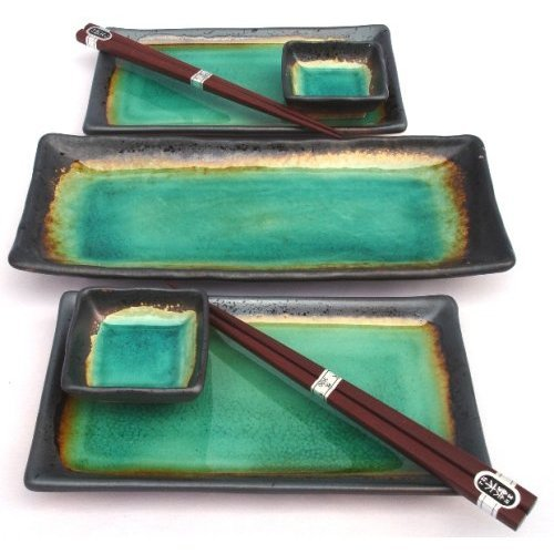 Japanese Turquoise Green Kosui Seven Piece Sushi Plate Set for Two with Serving Plate