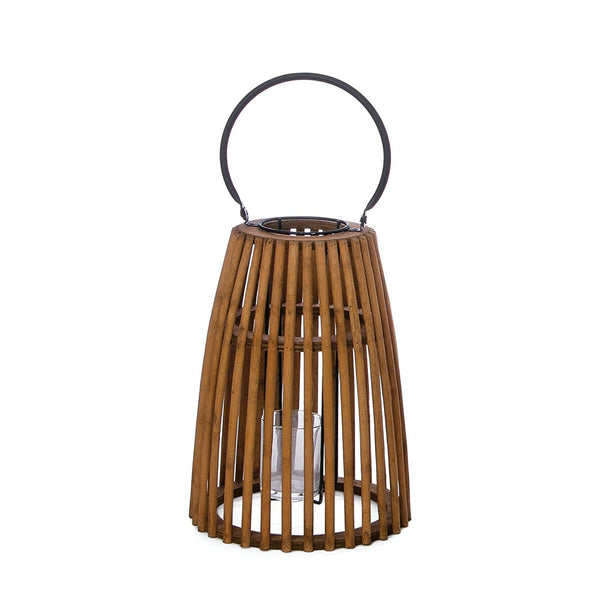 Round Handled Bamboo Lantern with Glass for Candle