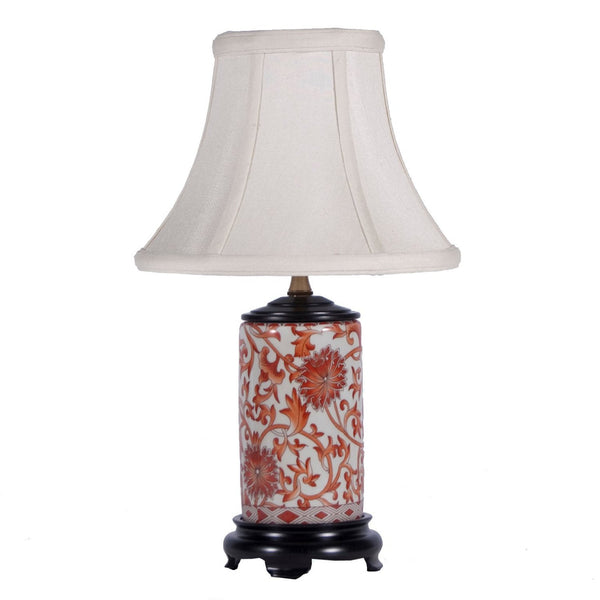 Small Orange Floral Chinese Accent Lamp