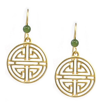 Shou Symbol with Jade Earrings
