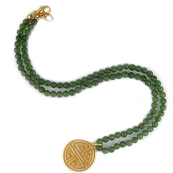 Green Jade Beaded Necklace with the Chinese Symbol for Long Life
