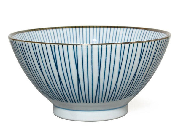 "7"" Japanese blue and white striped noodle bowl"