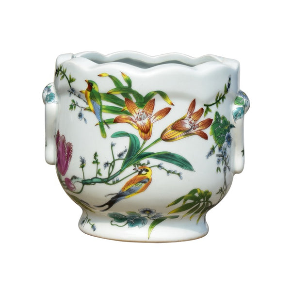 Round Bird and Flower Porcelain Planter with a Scalloped Edge