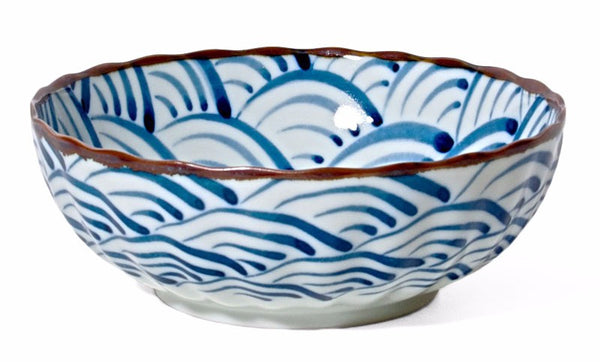 Japanese blue waves bowl 7.25""