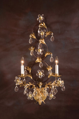 Decorative Crafts Glass & Iron Sconce 7941