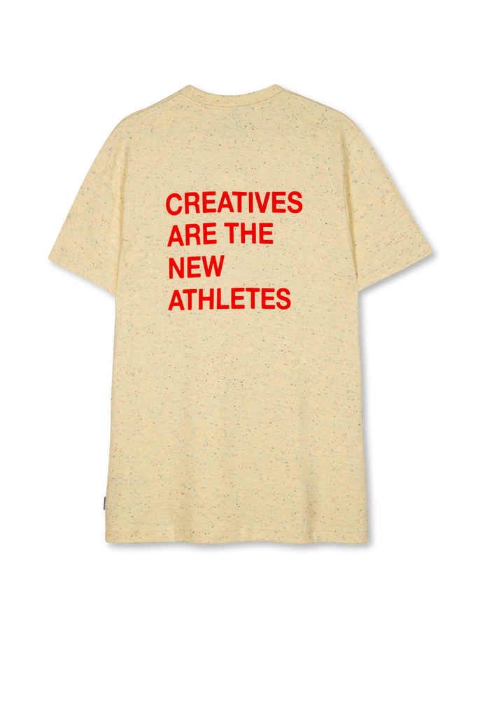 Creatives Are The New Athletes Tee Speckled Print Creme