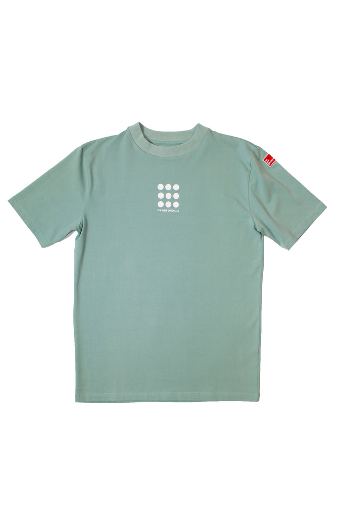 9-DOTS Tee | Mint Blue/White