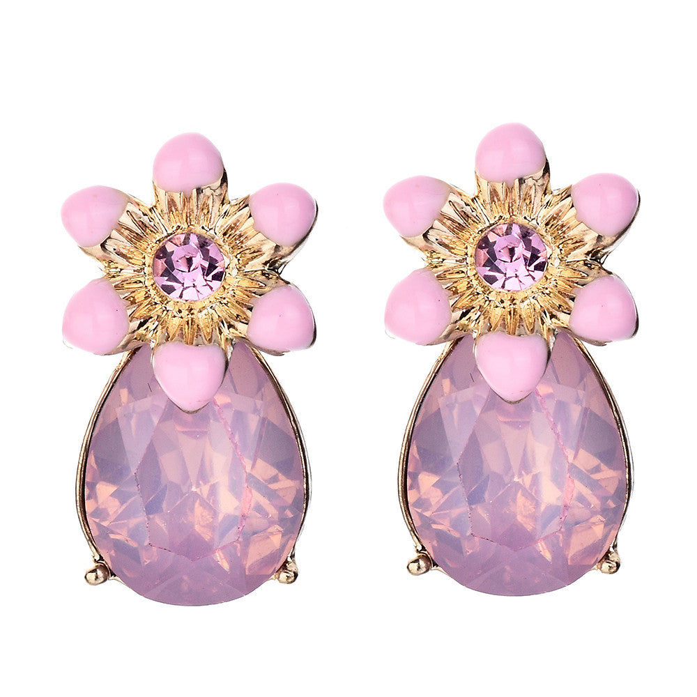 Glass Stone Flower Drop Earrings