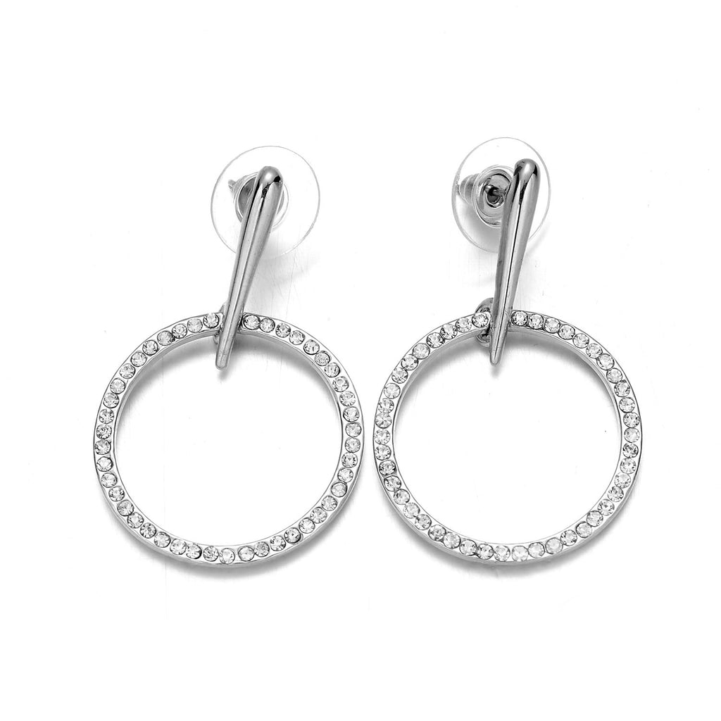 Silver-Tone Crystal Hoop Earrings