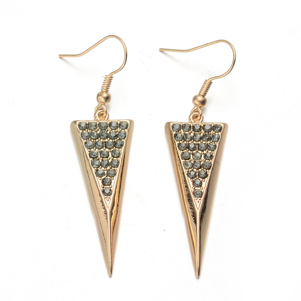 Gold-Tone Triangle Crystal Drop Earrings