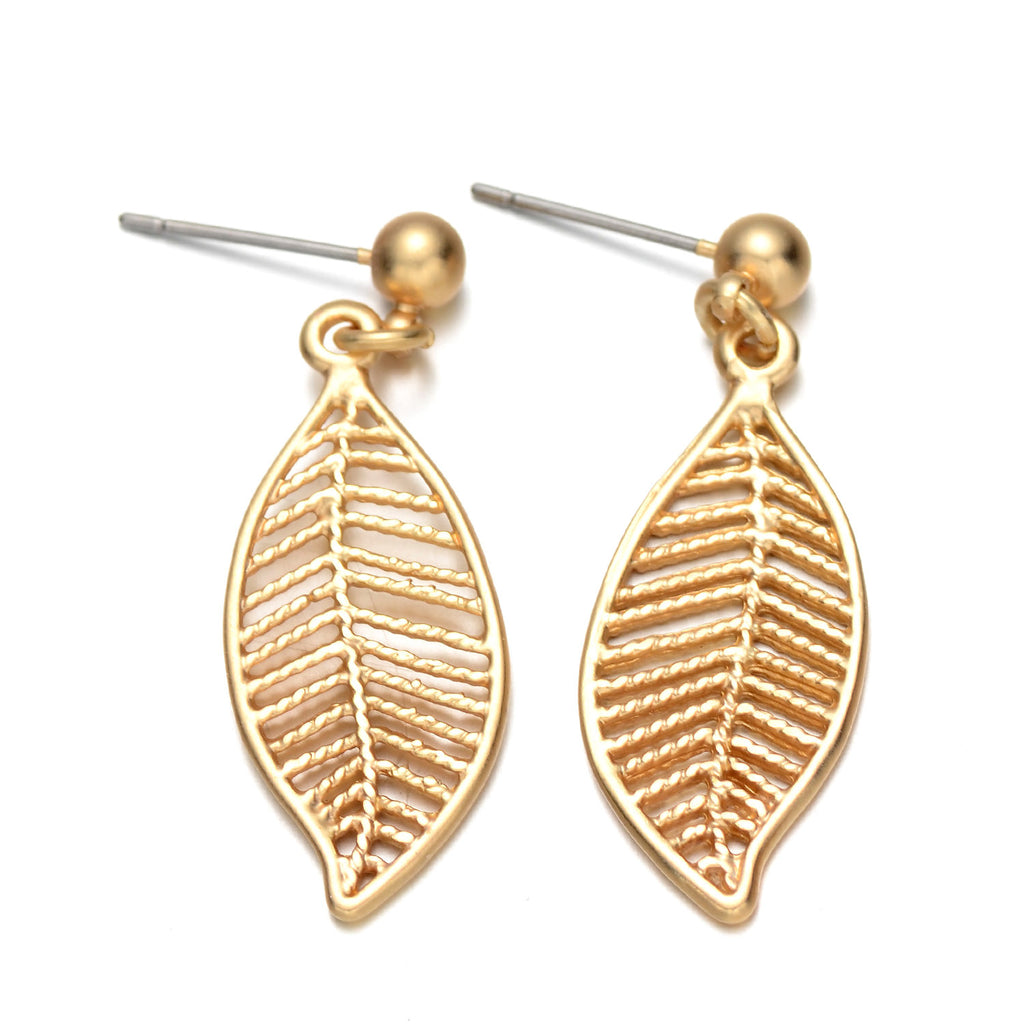Gold-Tone Cutout Leaf Drop Earrings
