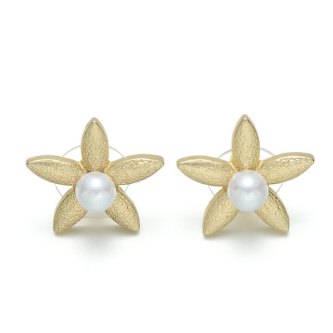 Gold-Tone Faux Pearl Flower Stud Earrings
