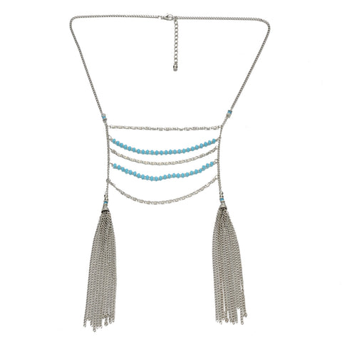 Blue Beads Double Tassel Necklace