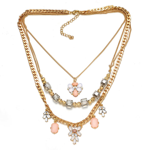 Multi-Layer Gold-Tone Cube Floral Necklace