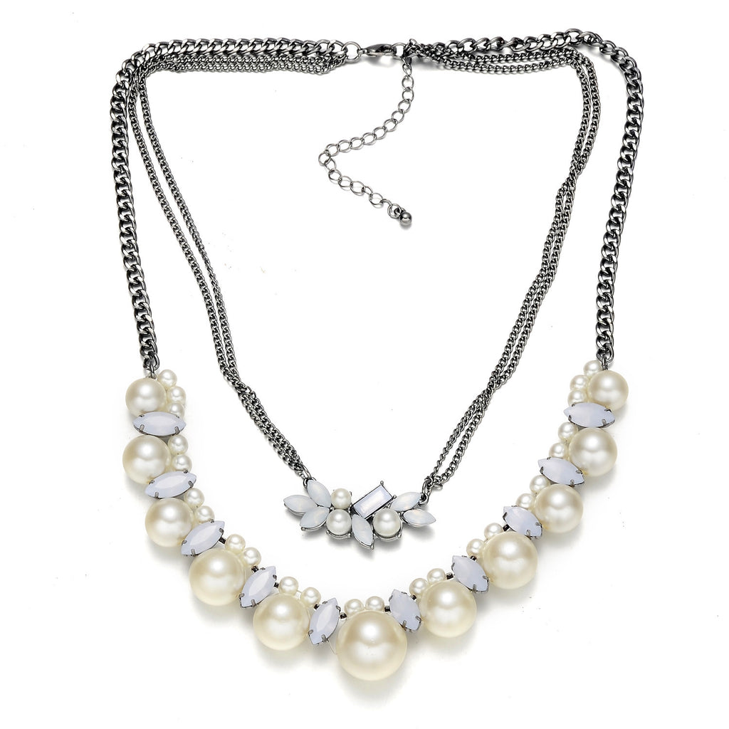 Double Layer Faux Pearl Necklace