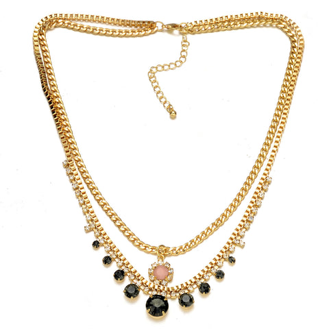 Double Layer Gold-Tone Crystal Necklace