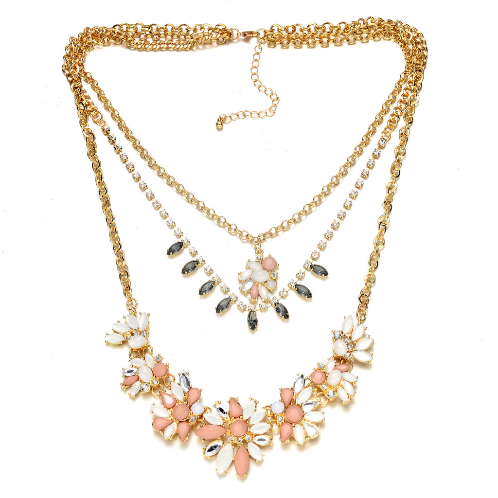 Multi-Layer Gold-Tone Floral Necklace