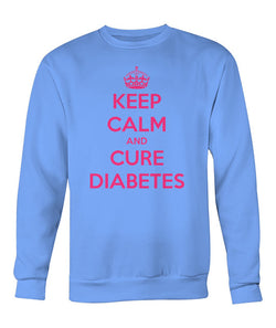 "Keep Calm and Cure Diabetes  Sweatshirts ""Pink Design"""