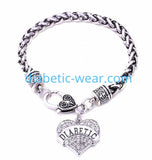 Crystal DIABETIC Heart Pendent With Thick Wheat Chain
