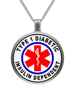 Type 1 Diabetic Insulin Dependent Necklace Circle Necklace