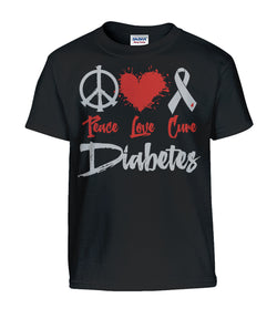 Peace, Love, Cure Diabetes Youth Shirts