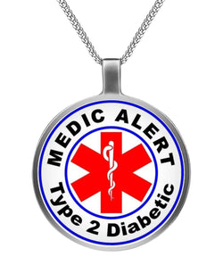 Type 2 Diabetic Medic Alert Necklace  Circle Necklace