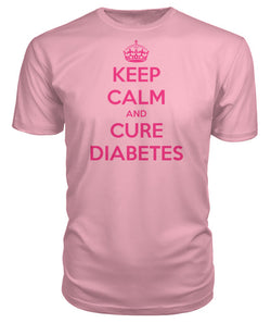 "Keep Calm and Cure Diabetes Premium T-Shirts  ""Pink Design"""