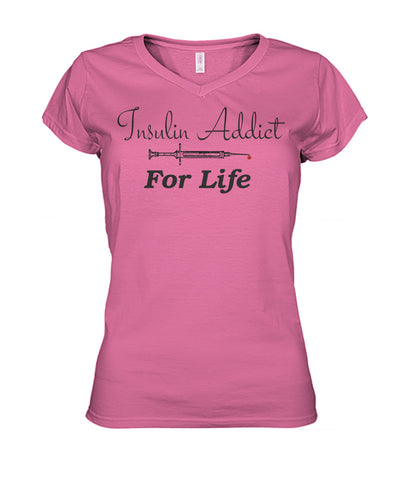 Insulin Addict Shirts! Women's V-Necks