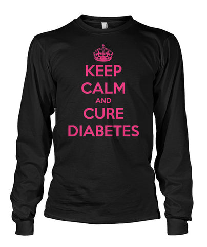 "Keep Calm and Cure Diabetes  Long Sleeve Shirts ""Pink Design"""