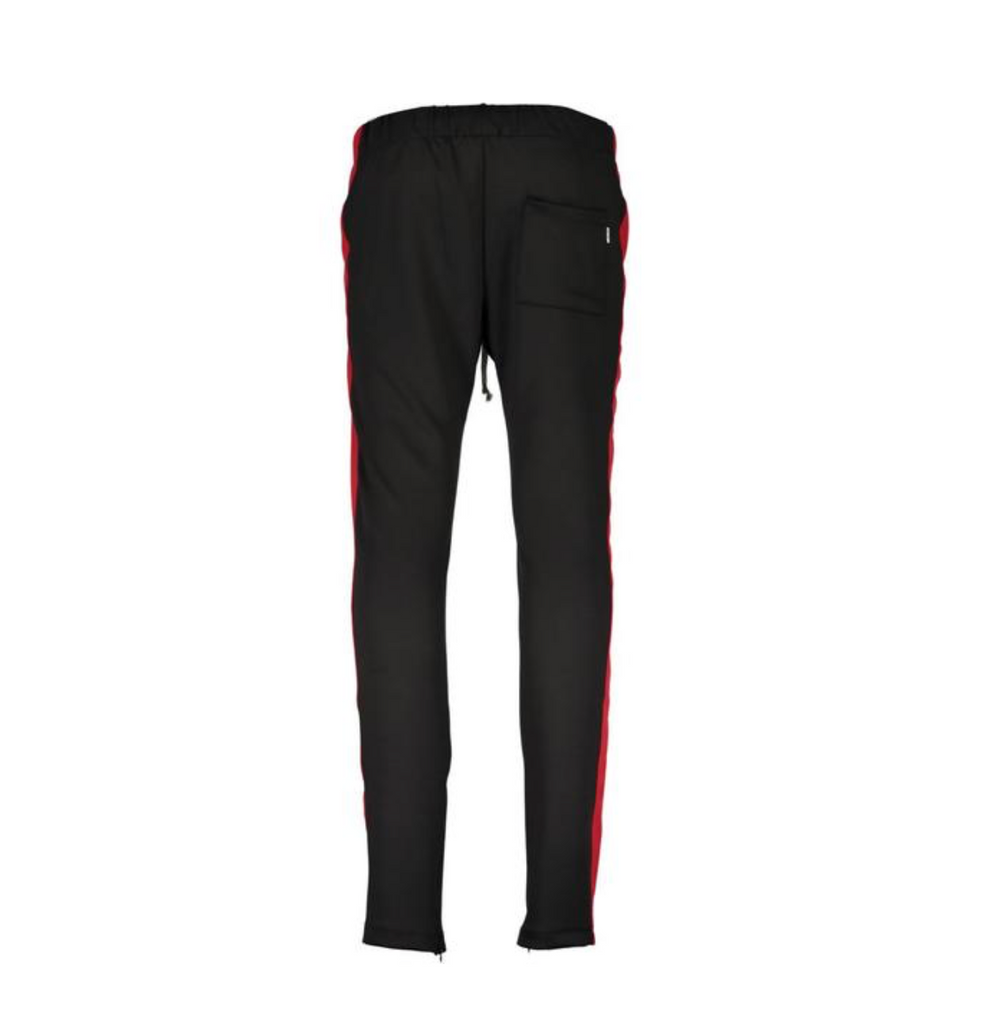 TRACK PANTS - BLACK RED