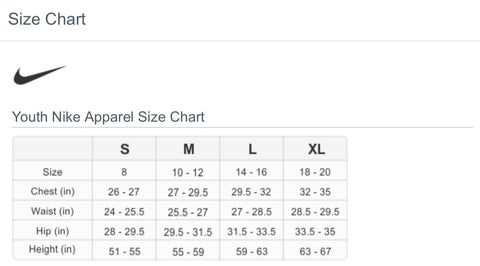 Youth Sizing