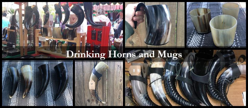Viking drinking horns with leather holster and drinking horn mugs