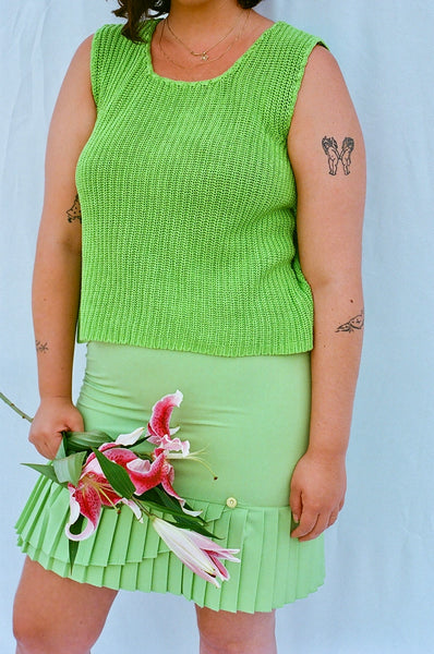 Pleated Slime Green Skirt (M)