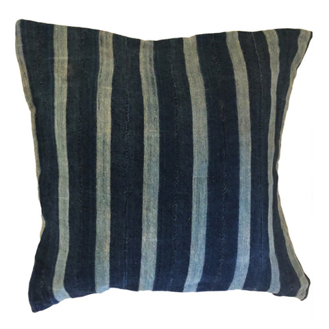 Accent Pillow - Authentic African Mud Cloth - Indigo Stripes