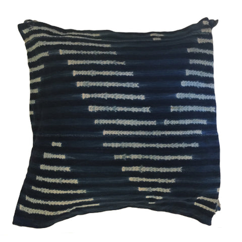 Pillow Covers - Authentic African Mud Cloth - Indigo Chevron