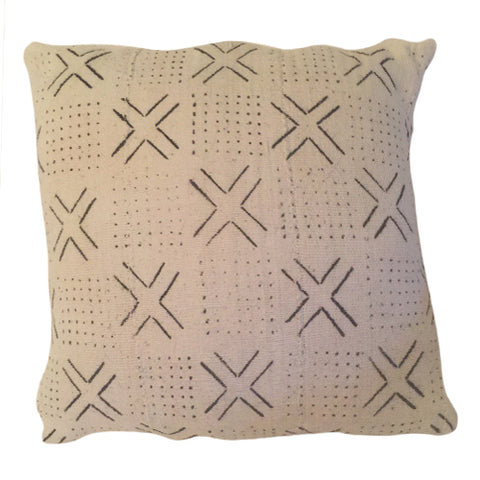 Accent Pillow - Authentic African Mud Cloth - Hugs and Kisses
