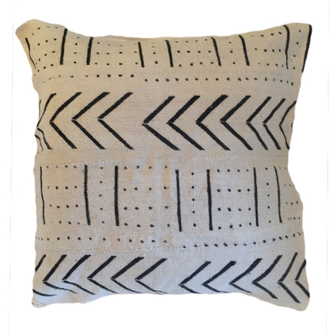 Accent Pillow - Authentic African Mud Cloth - Bow and Arrow