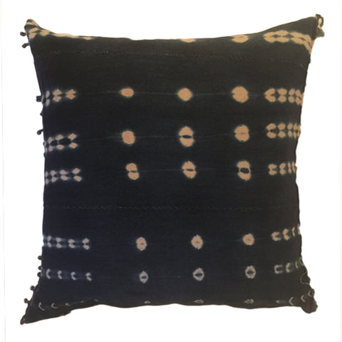 Accent Pillow - Authentic African Mud Cloth - Indigo Tie Dye