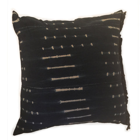 Accent Pillow - Authentic African Mud Cloth - Indigo Rope