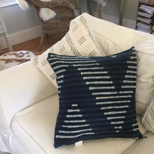 Accent Pillow - Authentic African Mud Cloth - Indigo Chevron